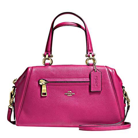 Coach Pink Cerise Polished Pebble Leather Primrose Satchel