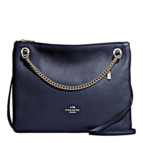 Coach Navy Polished Pebble Leather Convertible Crossbody Bag