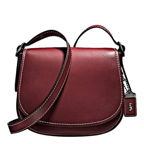 Coach Red Bordeaux Glovetanned Leather Saddle 23 Bag