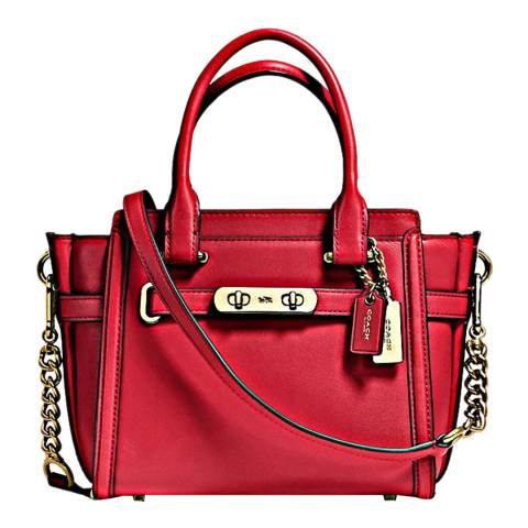 Coach Red Current Glovetanned Leather Swagger 21 Bag