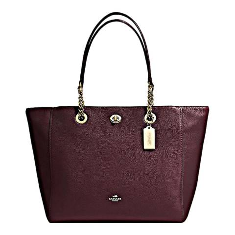 Coach Oxblood Polished Pebble Leather Turnlock Chain Tote Bag