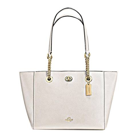 Coach Chalk Polished Pebble Leather Turnlock Chain Tote 27 Bag