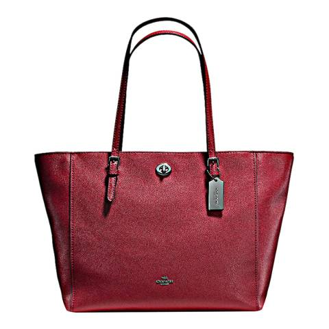 Coach Cherry Crossgrain Turnlock Tote Bag