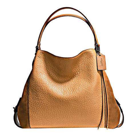 d0aab145c0fe Tan Saddle Mixed Leather Edie 42 Bag - BrandAlley