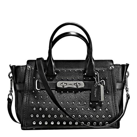 Coach Black Ombre Rivets Leather Swagger 27 Bag