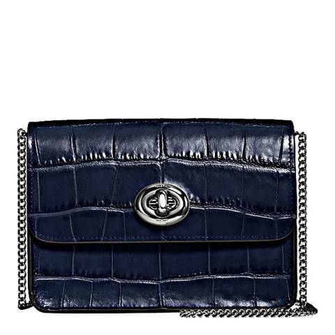 Coach Dark Navy Embossed Croc Bowery Crossbody Bag