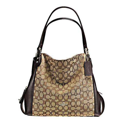 Coach Khaki Brown Signature Edie 31 Shoulder Bag