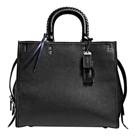 Coach Black Embellished Handle Leather Rogue 36 Bag
