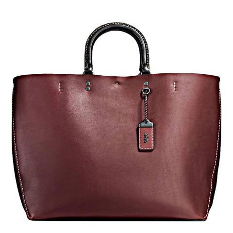 Coach Red Bordeaux Glove Calf Leather Rogue Tote Bag