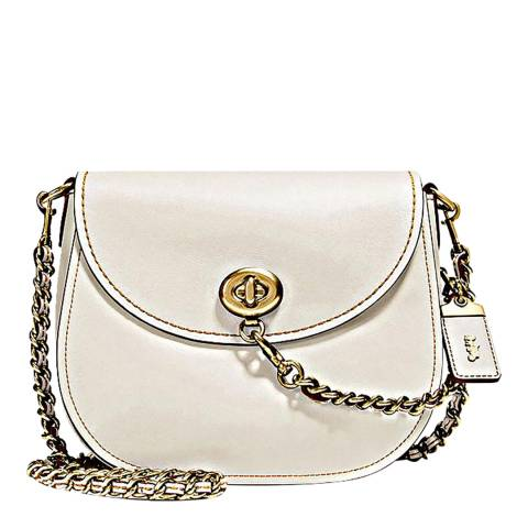 Coach Chalk Glovetanned Leather Turnlock Saddle Bag