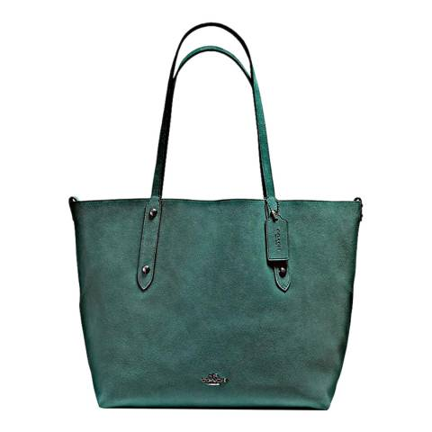Coach Dark Turquoise/Black Reversible Suede Market Tote Bag