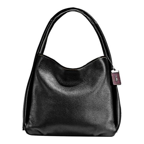 Coach Black/Floral Glovetanned Pebble Leather Bandit Hobo Bag