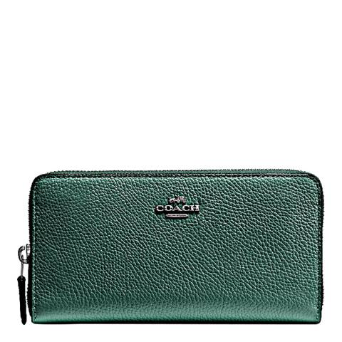 Coach Dark Turquoise Leather Small Accordion Zip Wallet