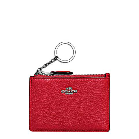 Coach Red Leather Box Program Mini Id Skinny Wallet