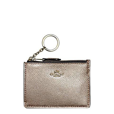 Coach Platinum Leather Box Program Mini Id Skinny Wallet