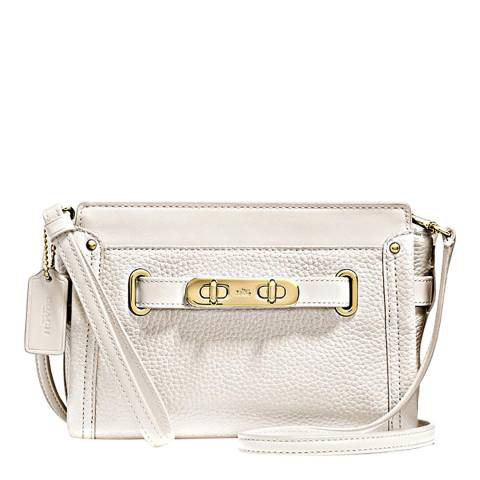 Coach White Pebbled Swagger Wristlet/Crossbody Bag