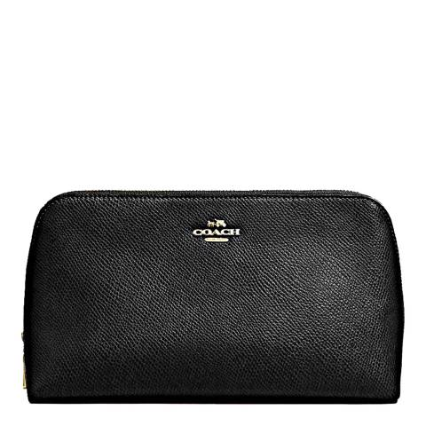 Coach Black Crossgrain Leather Cosmetic Bag