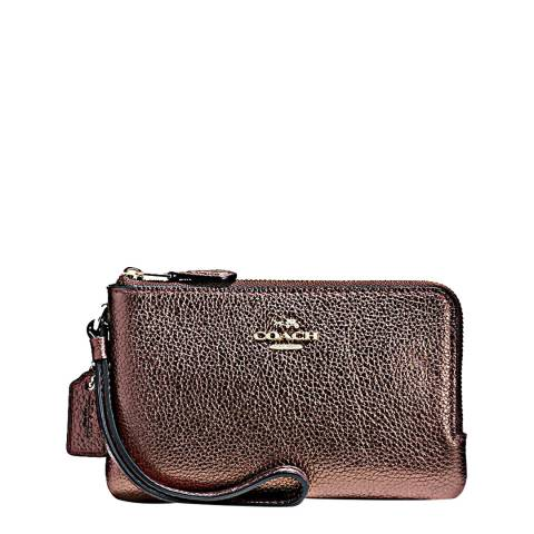 Coach Bronze Metallic Polished Pebble Double Small Wristlet