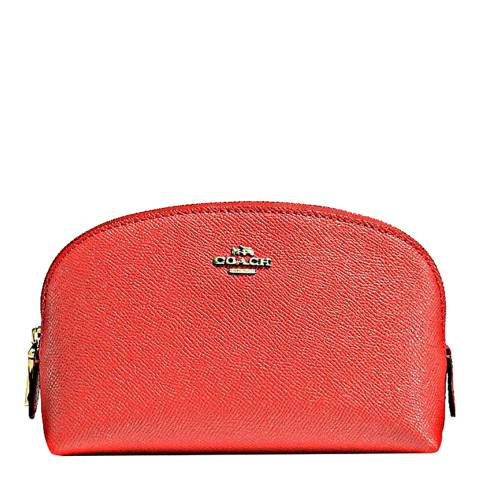 Coach Deep Coral Leather Cosmetic Case