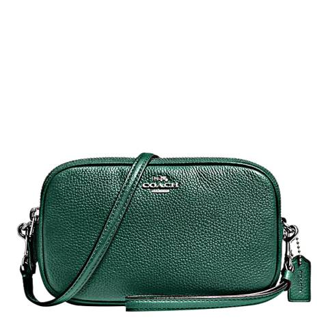 Coach Dark Turquoise Pebbled Leather Crossbody Clutch Bag