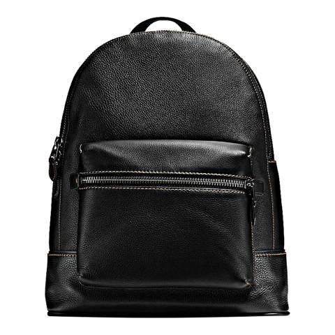 Coach Men's Black/Light Nickel Pebble Leather League Backpack