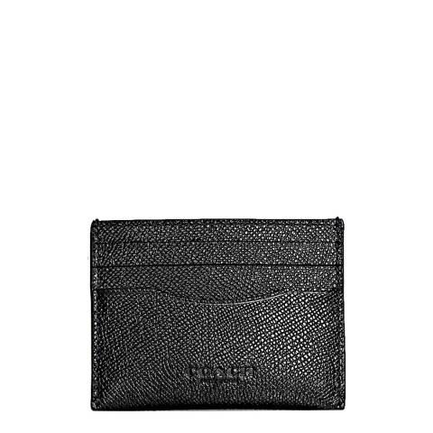 Coach Black Crossgrain Leather Card Case