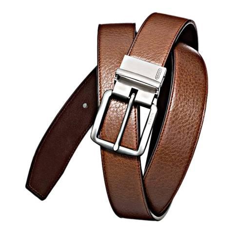 Coach Tan/Mahogany Hampton's Harness Pebbled Reversible Belt