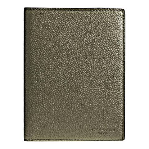 Coach Gold Pebble Leather Passport Case