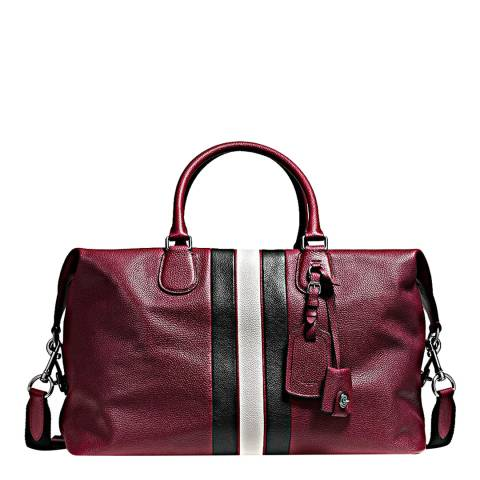 Coach Burgundy/Chalk Varsity Stripe Explorer Bag