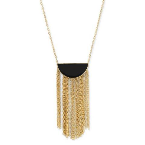 Chloe Collection by Liv Oliver Gold Onyx Fringe Necklace
