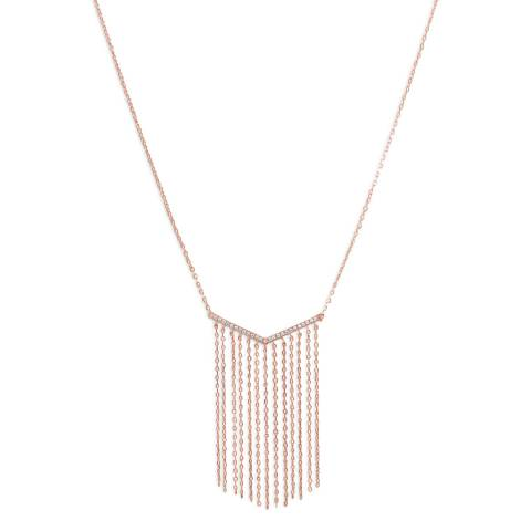 Chloe Collection by Liv Oliver Rose Gold Tassel Drop Necklace