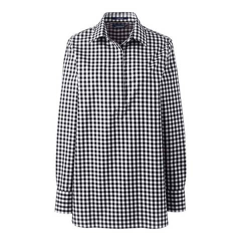 Lands End Black/White Check Plaid Print Supima Non-Iron Tunic