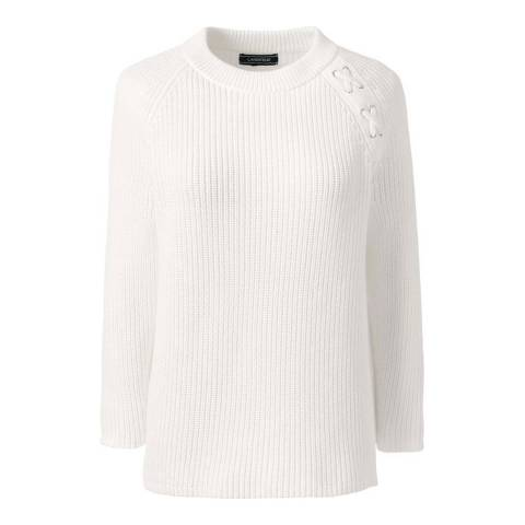 Lands End White Drifter Lace Shoulder Crew Neck Jumper