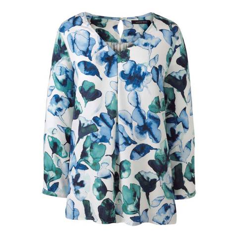 Lands End Blue Soft Floral Three-quarter Sleeve V-neck Tunic