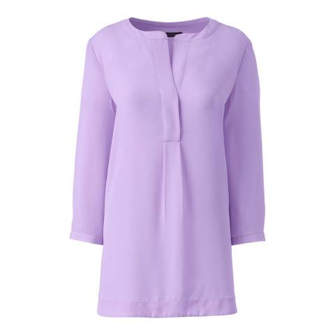Lands End Frosted Lavender Popover Tunic Blouse