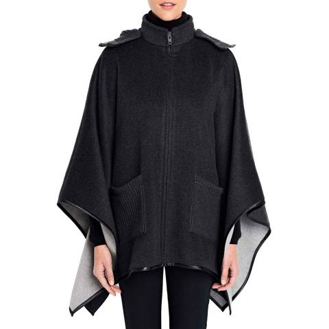 Lands End Charcoal Double Faced Poncho
