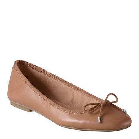 Lands End Tan Bianca Bow Ballet Shoes