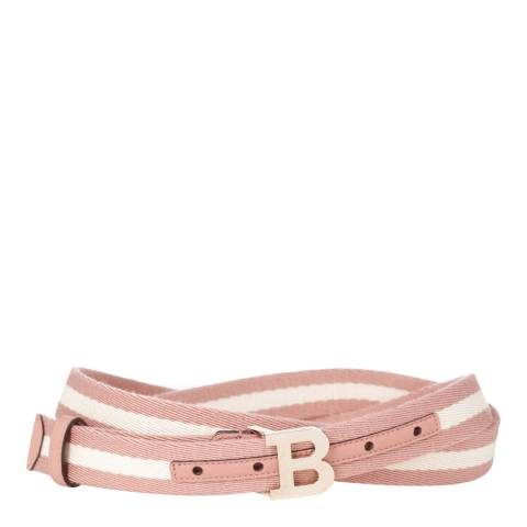 BALLY Ladies Pink/Cream Cotton & Leather Belt