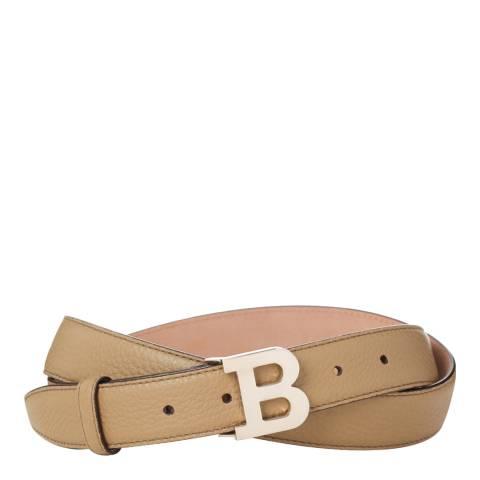 BALLY Ladies Beige Leather 'B' Buckle Belt