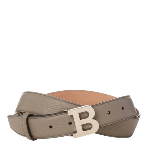 BALLY Ladies Grey Leather 'B' Buckle Belt
