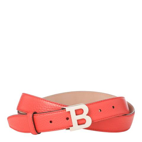 BALLY Ladies Bright Red Leather 'B' Buckle Belt