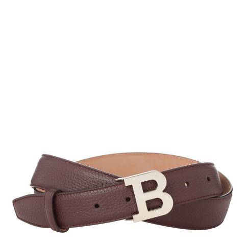 BALLY Ladies Wine Red Leather 'B' Buckle Belt