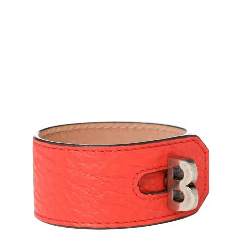 BALLY Ladies Red 'B' Turn Cuff Bracelet