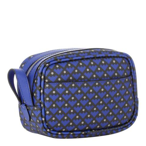BALLY Ladies Blue/Black Leather Pattern Cosmetics Bag