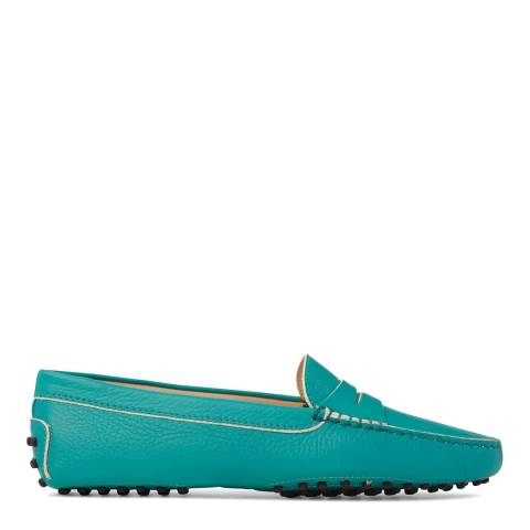 Tod's Womens Green Leather Gommino Loafers
