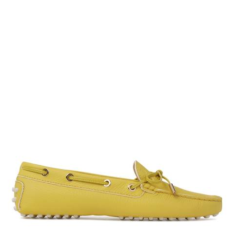 Tod's Womens Yellow Leather Gommino Moccasins