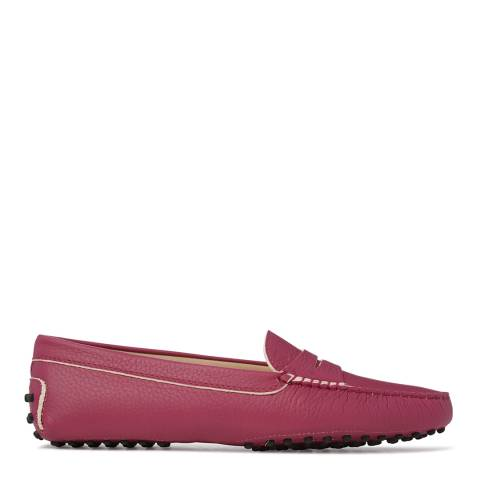 Tod's Womens Pink Leather Gommino Loafers