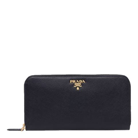 Prada Black Saffiano Shine Zip Around Wallet In Calf Leather