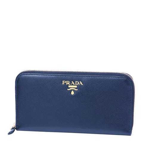 Prada Blue Saffiano Shine Zip Around Wallet In Calf Leather