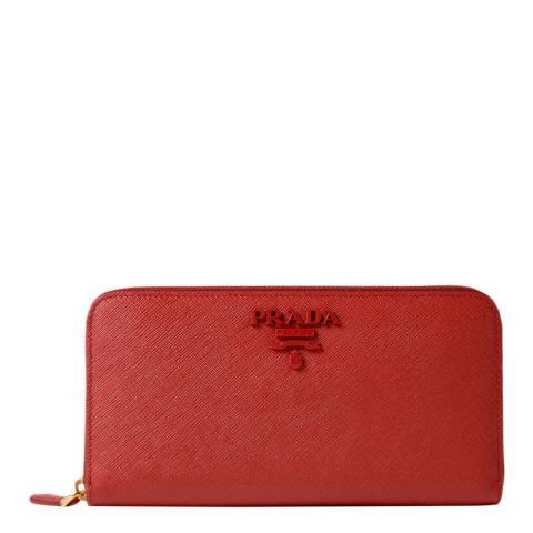 Prada Red Saffiano Shine Zip Around Wallet In Calf Leather